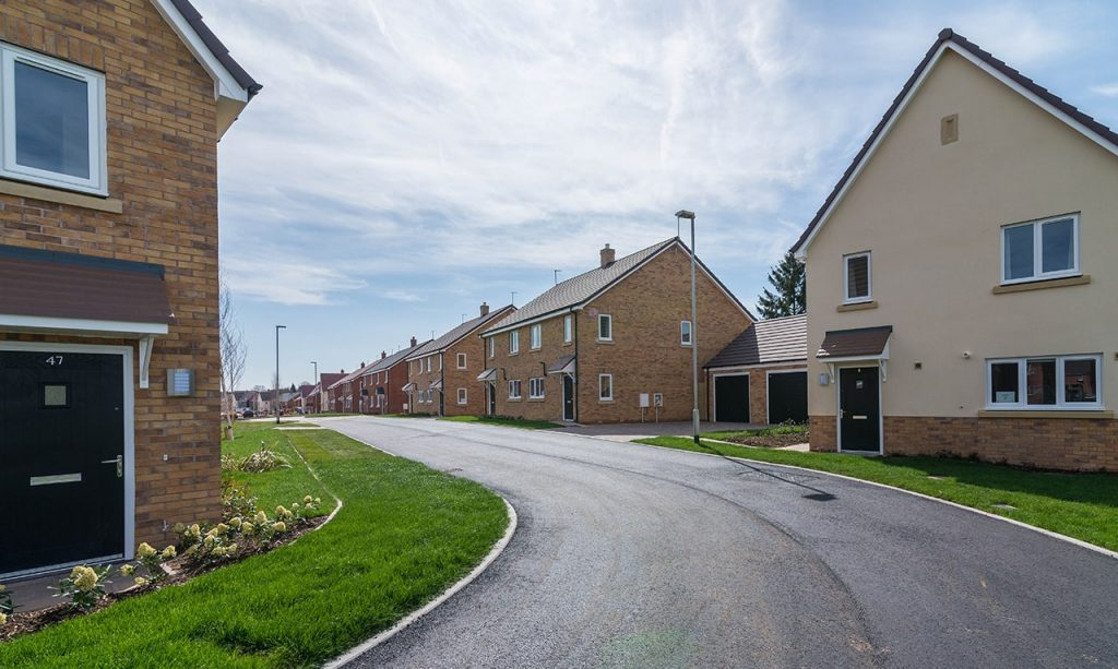 Finished houses and street at Beacon Barracks
